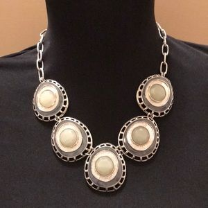Silver, green and blue fashion necklace.